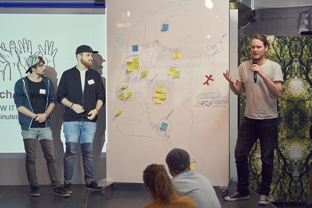 Pitching ideas at Designing Democracy hackathon