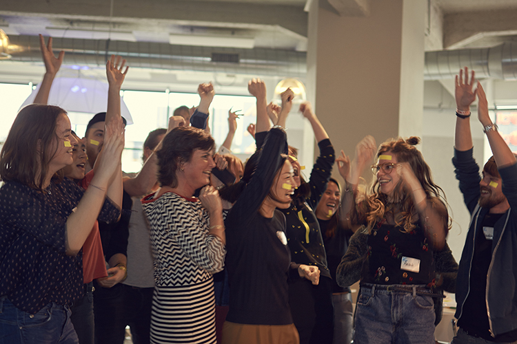 Dancing at the Designing Democracy hackathon